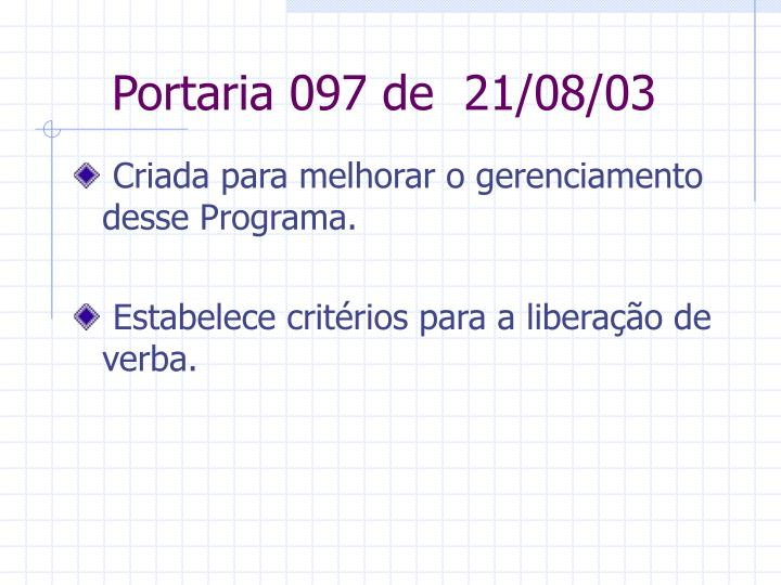 Portaria 097 de 21/08/03