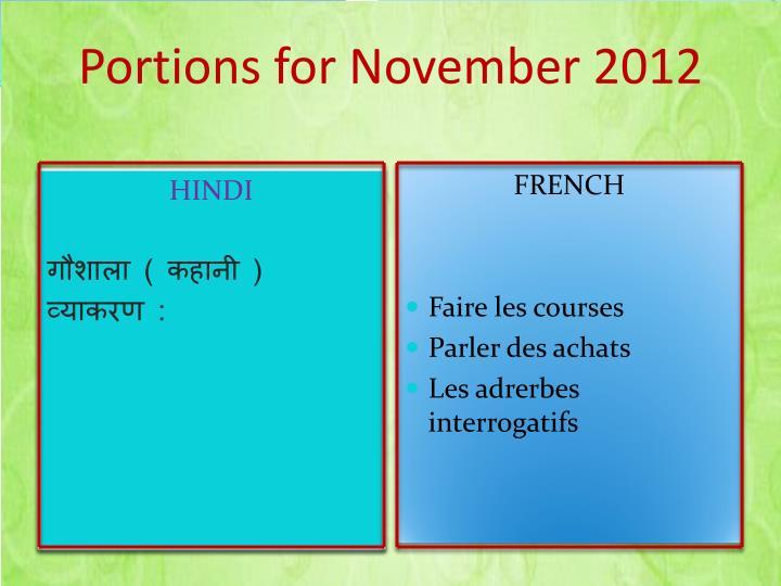 Portions for November 2012