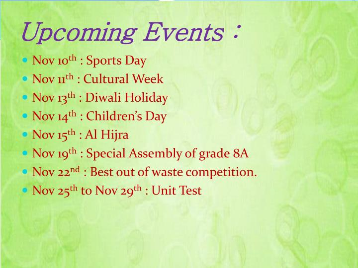 Upcoming Events :