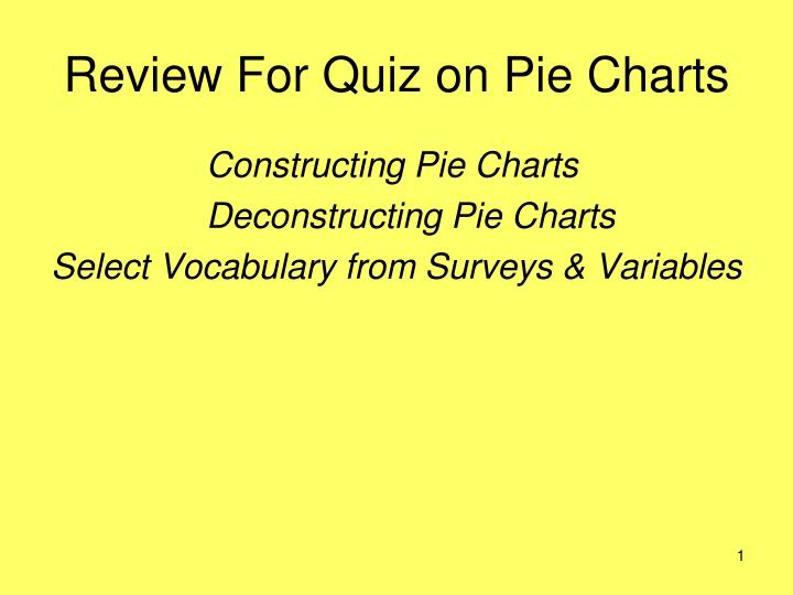 Review for quiz on pie charts