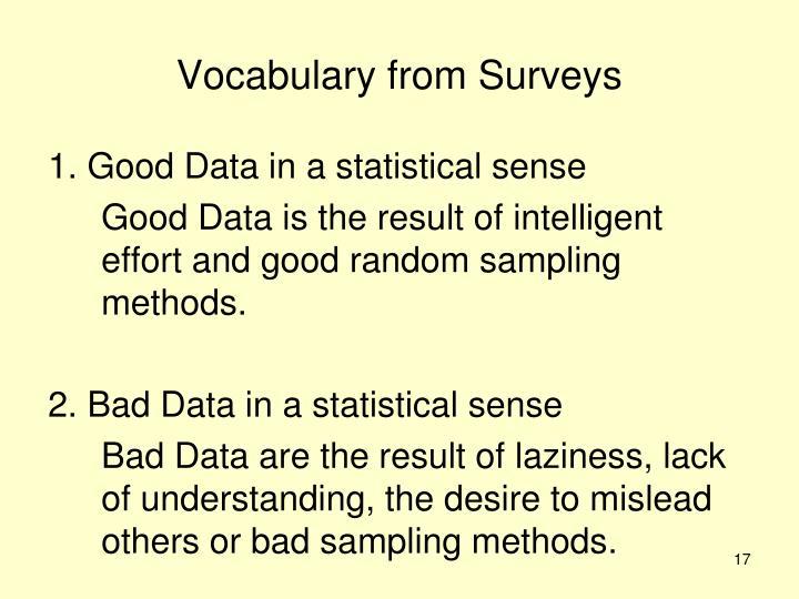 Vocabulary from Surveys