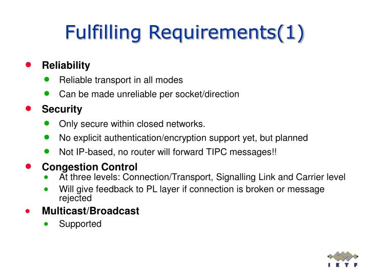 Fulfilling Requirements(1)