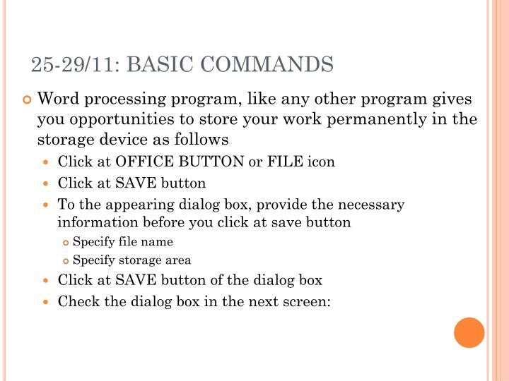 25-29/11: BASIC COMMANDS