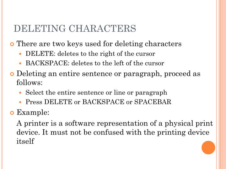 DELETING CHARACTERS
