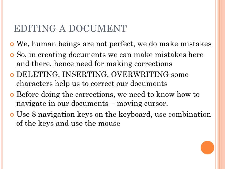 EDITING A DOCUMENT