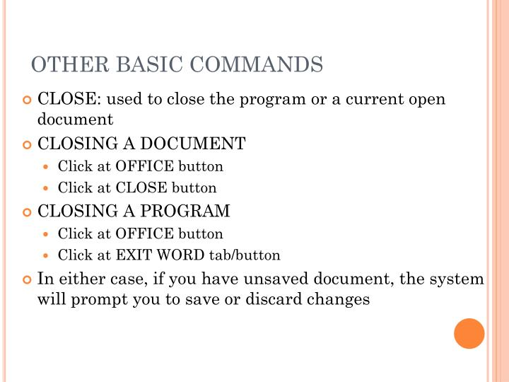 OTHER BASIC COMMANDS