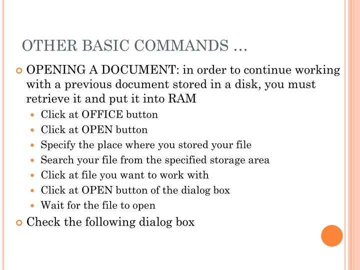 OTHER BASIC COMMANDS …