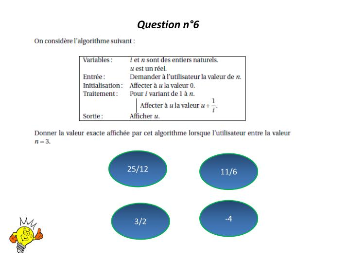Question n°6