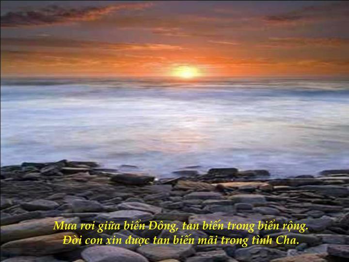 Mưa rơi giữa biển Đông, tan biến trong biển rộng.                                                                         Đời con xin được tan biến mãi trong tình Cha.