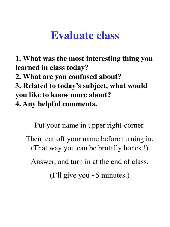 Evaluate class