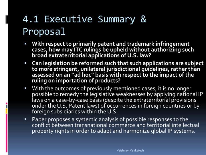 4.1 Executive Summary & Proposal
