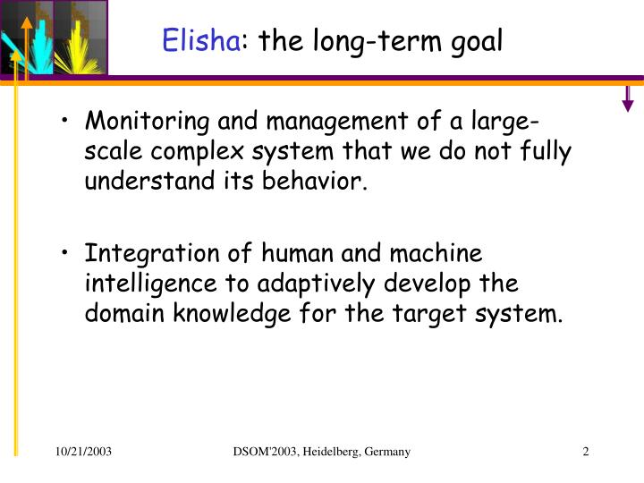 Elisha the long term goal