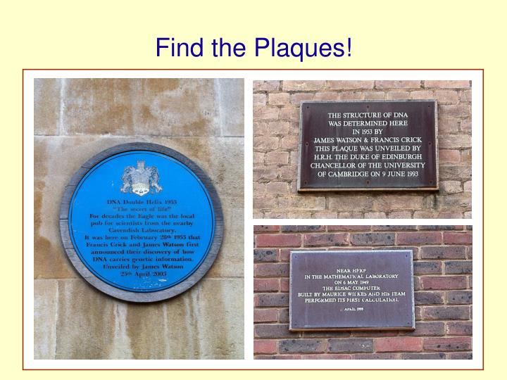 Find the Plaques!