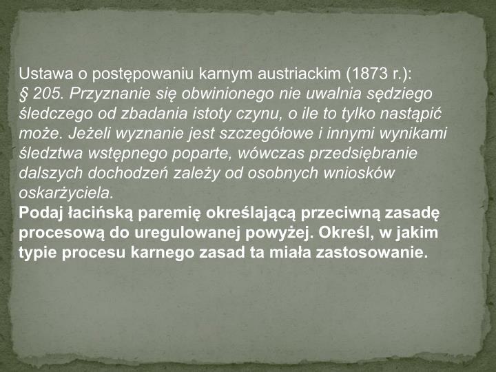 Ustawa o postępowaniu karnym austriackim (1873 r.):