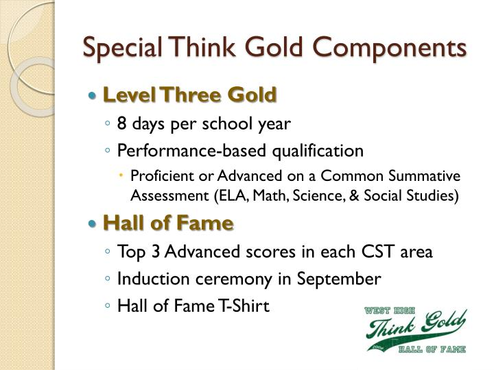 Special Think Gold Components