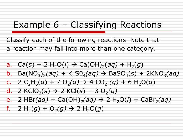 Example 6 – Classifying Reactions