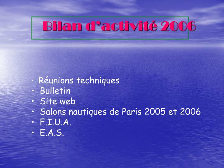Bilan d'activité 2006