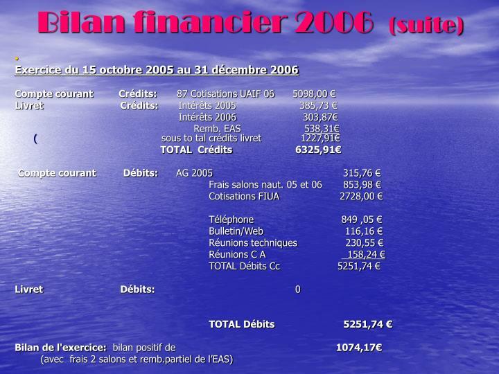 Bilan financier 2006
