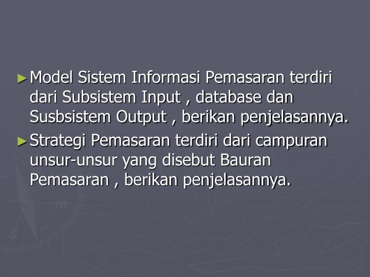 Model Sistem Informasi Pemasaran terdiri dari Subsistem Input , database dan Susbsistem Output , berikan penjelasannya.