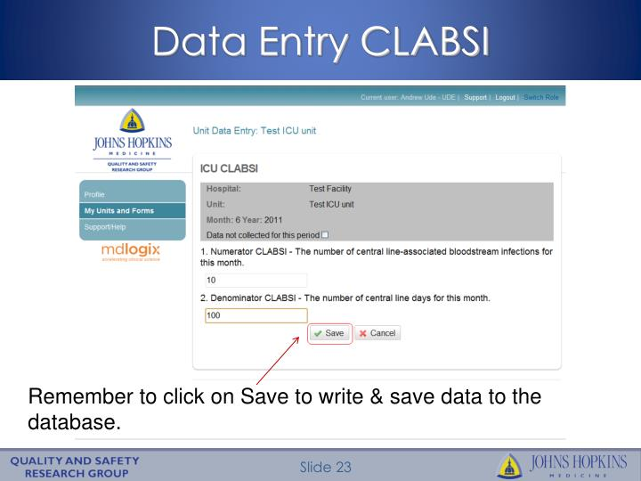 Data Entry CLABSI
