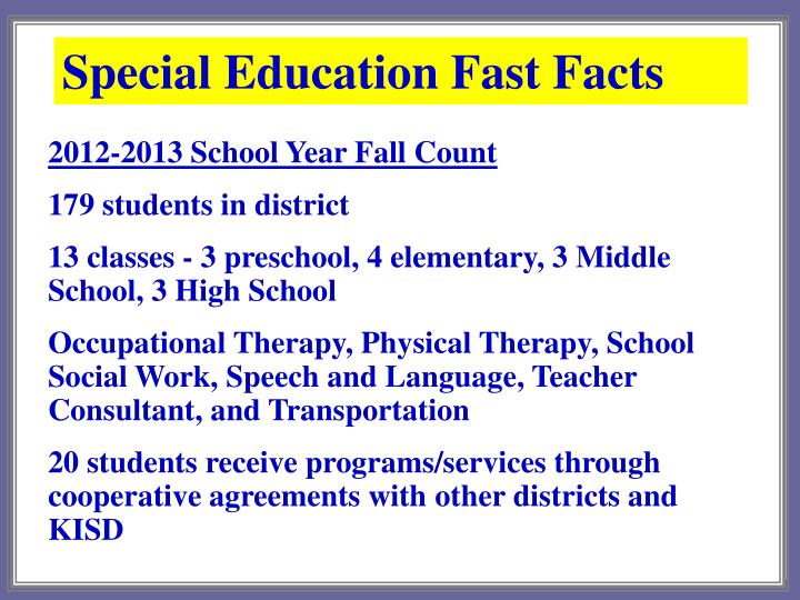 Special Education Fast Facts