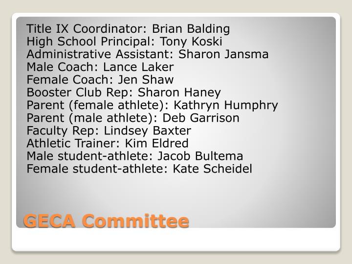 Title IX Coordinator: Brian Balding