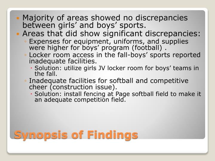 Majority of areas showed no discrepancies between girls' and boys' sports.