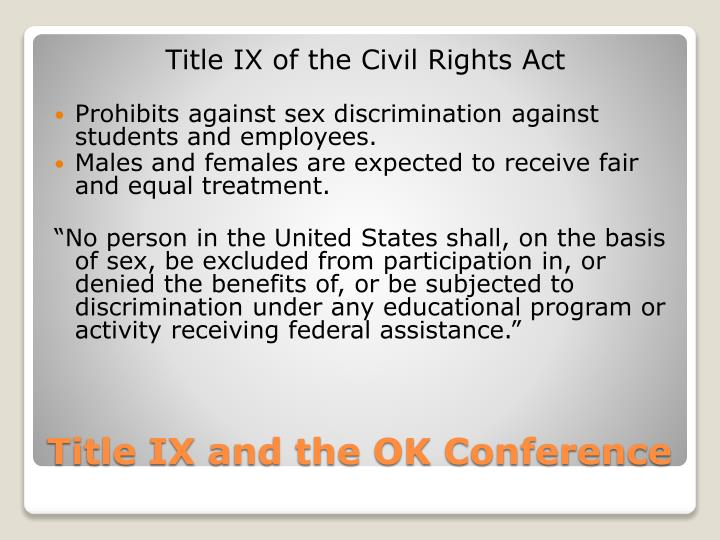 Title ix and the ok conference