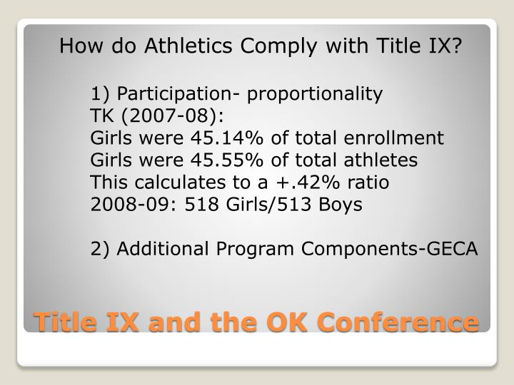 Title ix and the ok conference1