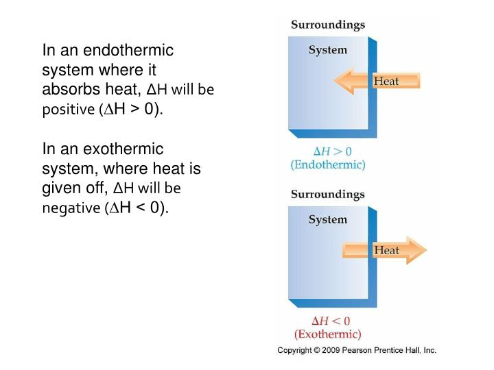 In an endothermic system where it absorbs heat,