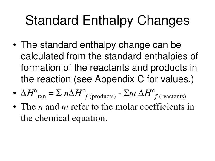 Standard Enthalpy Changes