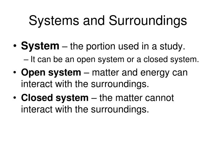 Systems and Surroundings