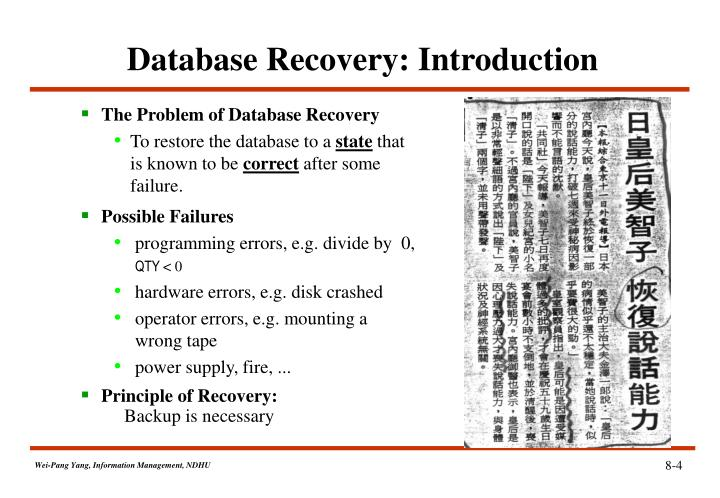 Database Recovery: Introduction