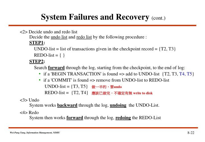 System Failures and Recovery