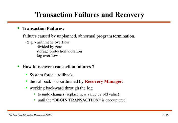 Transaction Failures and Recovery