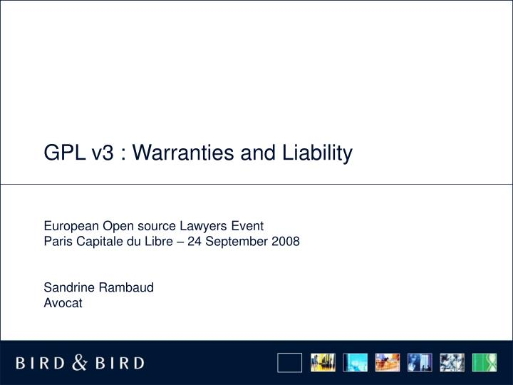 Gpl v3 warranties and liability