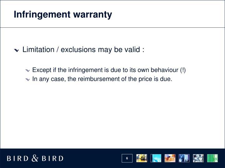 Infringement warranty