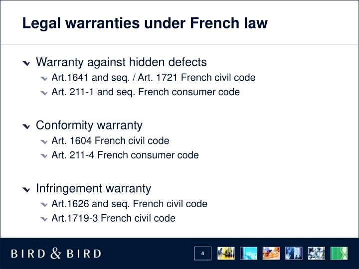 Legal warranties under French law
