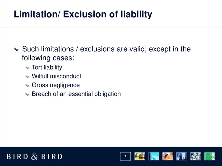 Limitation/ Exclusion of liability