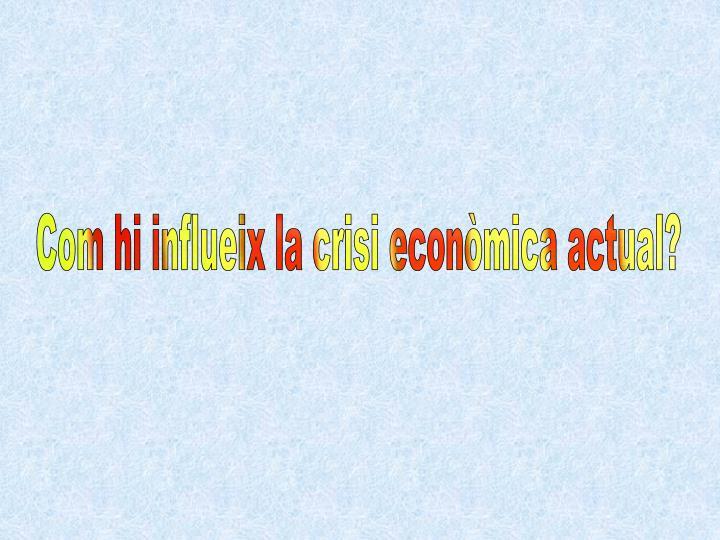Com hi influeix la crisi econòmica actual?