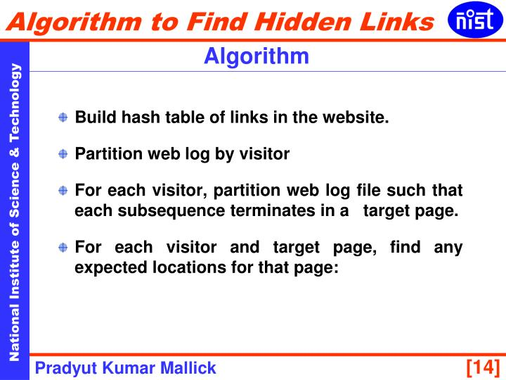 Build hash table of links in the website.