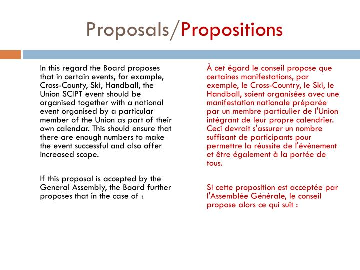 Proposals propositions1