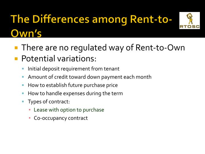 The Differences among Rent-to-Own's