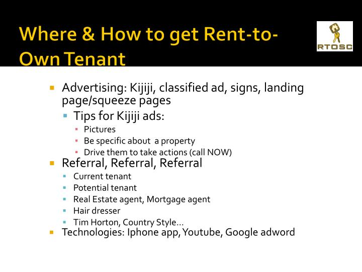 Where & How to get Rent-to-Own Tenant