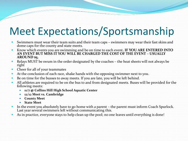 Meet Expectations/Sportsmanship
