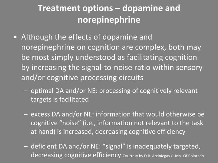Treatment options – dopamine and norepinephrine
