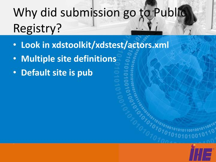 Why did submission go to Public Registry?