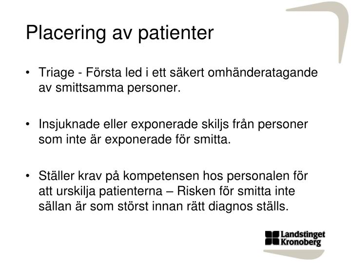 Placering av patienter