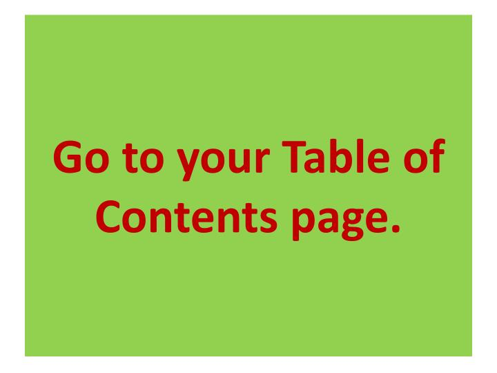 Go to your table of contents page
