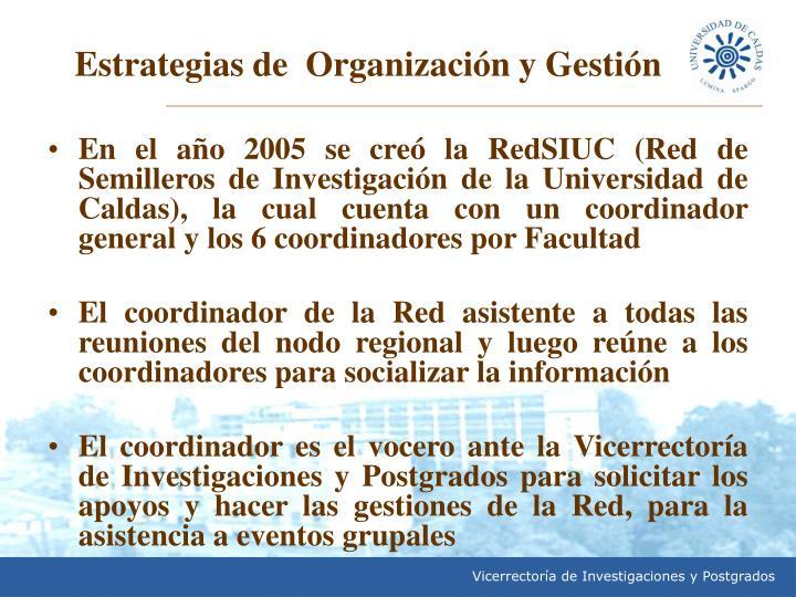En el año 2005 se creó la RedSIUC (Red de Semilleros de Investigación de la Universidad de Caldas), la cual cuenta con un coordinador general y los 6 coordinadores por Facultad